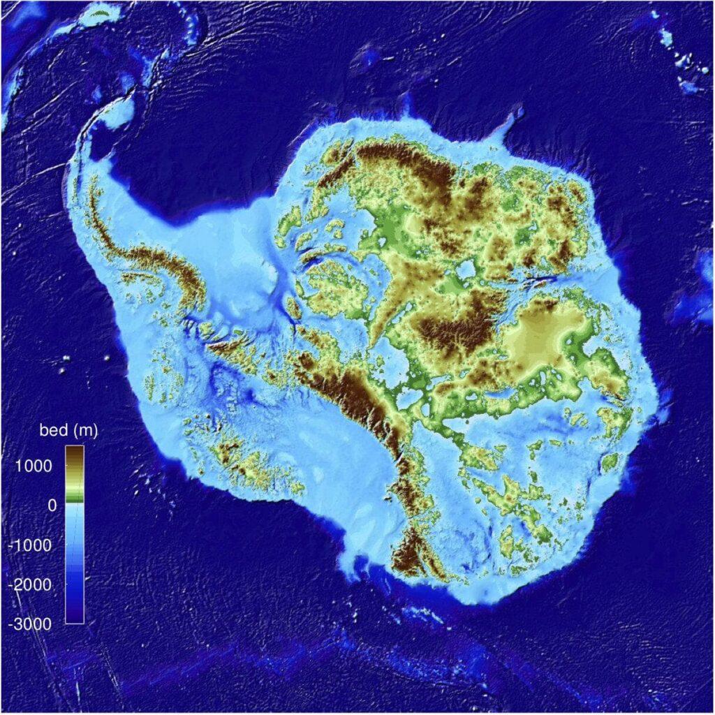 Топографическая карта Антарктиды позволила выявить самую глубокую впадину  земной суши